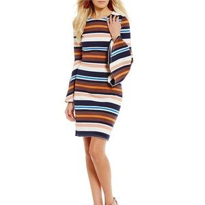 Sugarlips Striped Bell Sleeve Sheath Dress